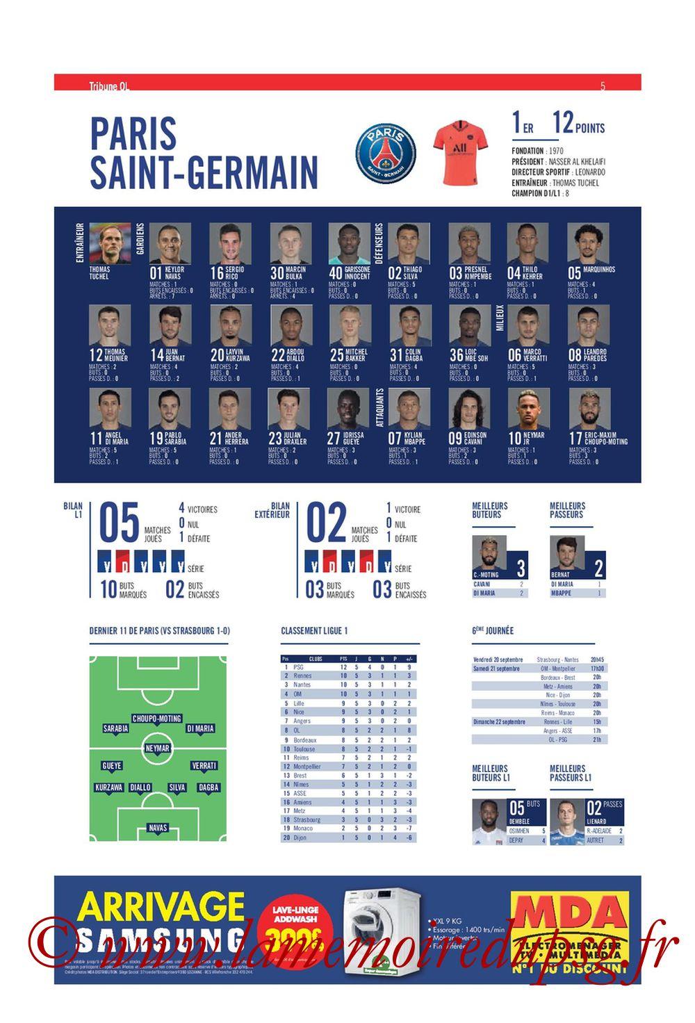 2019-09-22  Lyon-PSG (6ème L1, Tribune OL N°284) - Page 05