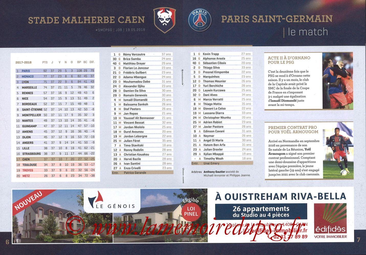 2018-05-19  Caen-PSG (38ème L1, Programme officiel) - Pages 06 et 07