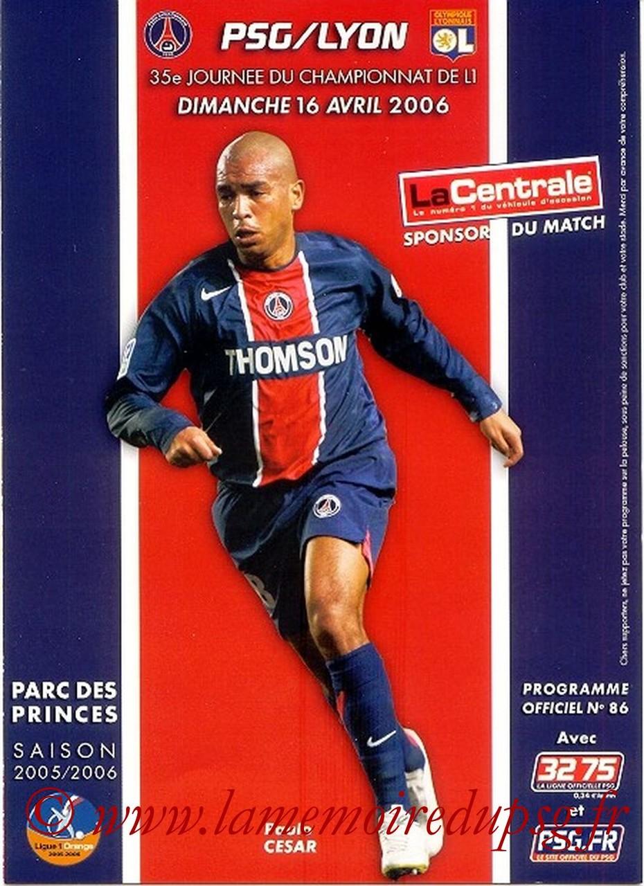 2006-04-16  PSG-Lyon (35ème L1, Officiel N°86)