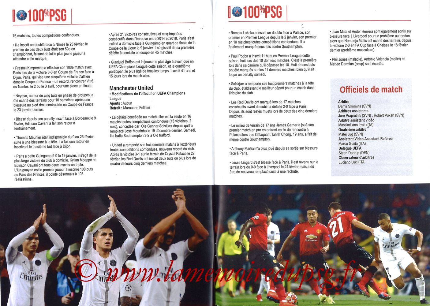 2019-03-06  PSG-Manchester United (8ème Retour C1, 100% PSG N° 181) - Pages 10 et 11
