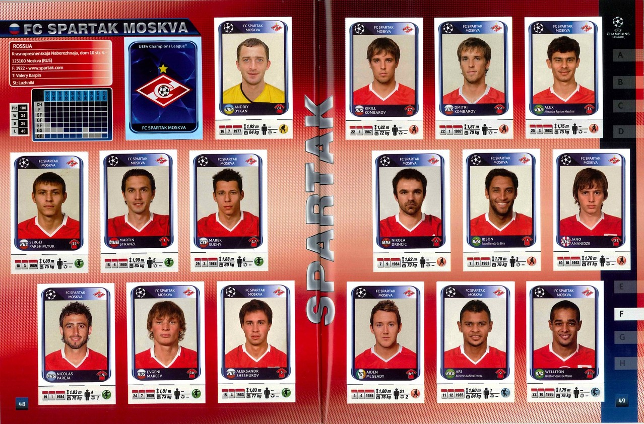 2010-11 - Panini Champions League - Pages 48 et 49 - FC Spartak Moscou