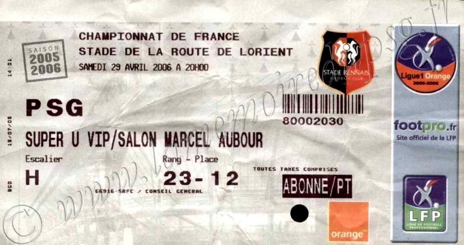 2006-05-03  Rennes-PSG (36ème L1)
