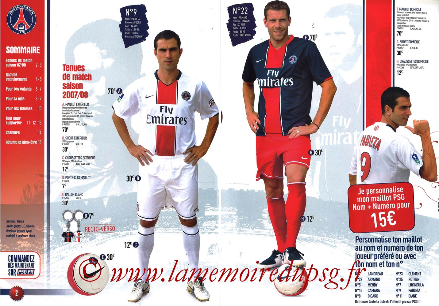 Catalogue PSG - 2007-08 - Pages 02 et 03