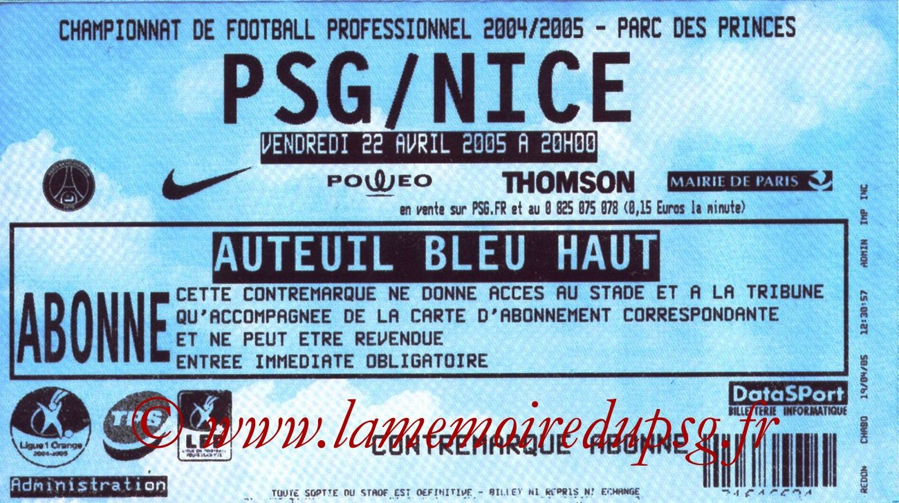 2005-04-22  PSG-Nice (34ème L1)