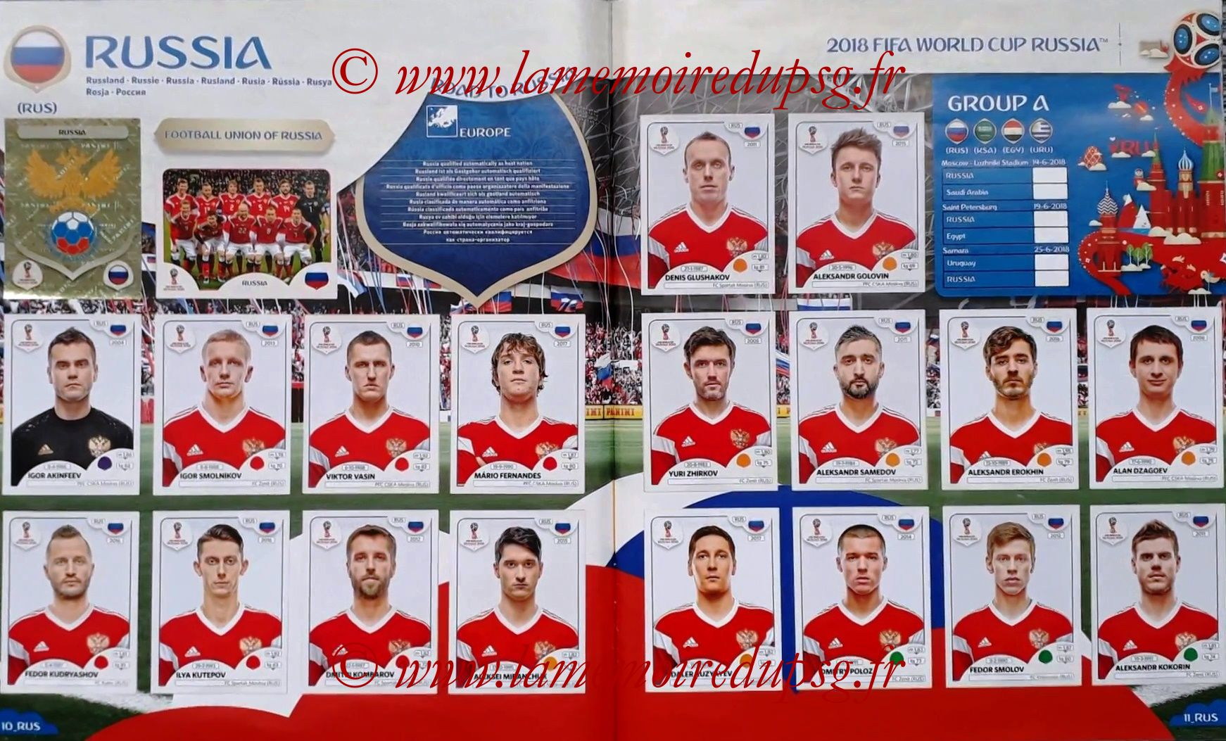 2018 - Panini FIFA World Cup Russia Stickers - Pages 10 et 11 - Russie