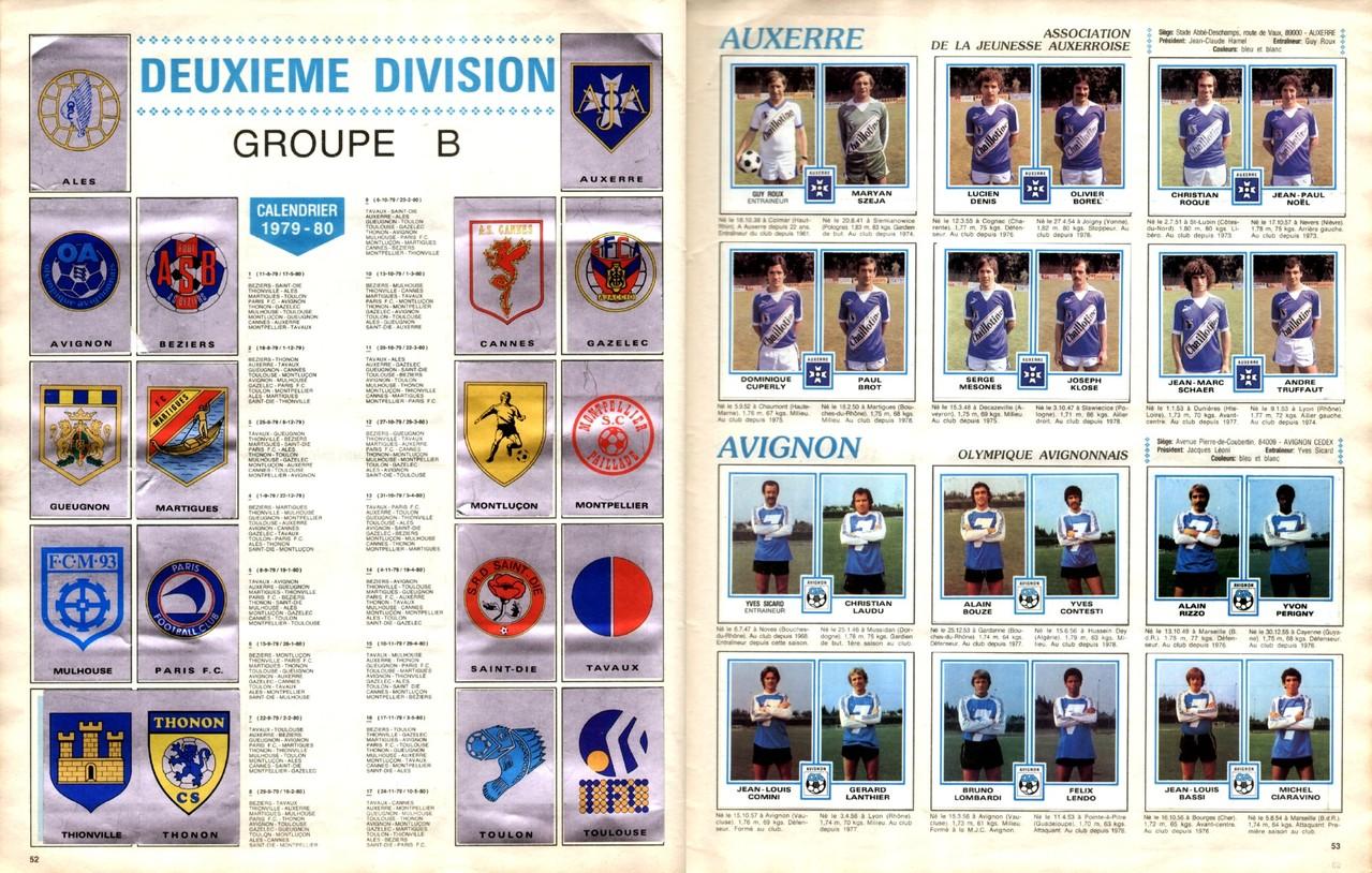 1979-80 - Panini 1980 - Pages 52 et 53 - Ecussons Deuxième Division Groupe B + AJ Auxerre et Olympique Avignon