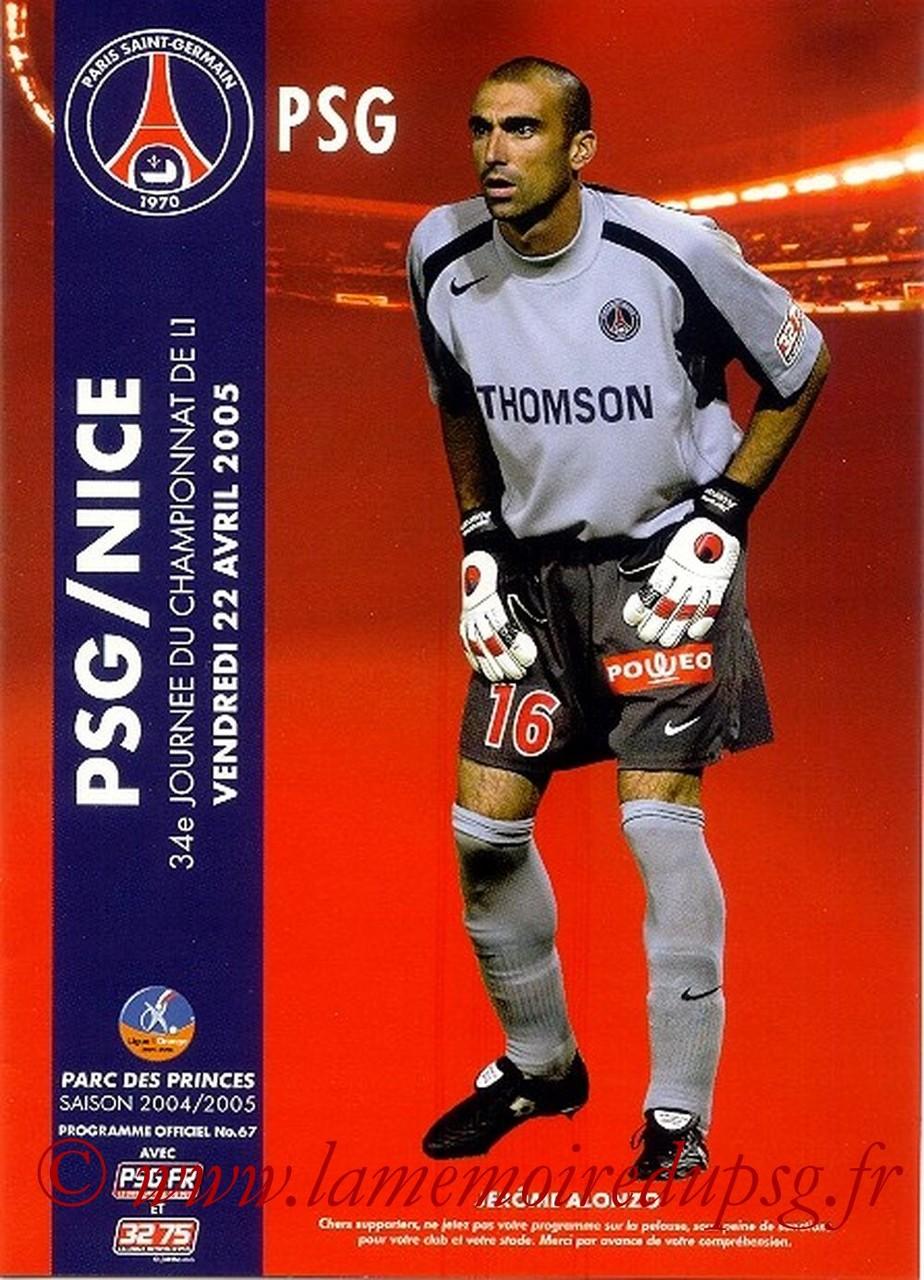 2005-04-22  PSG-Nice (34ème L1, Officiel N°67)