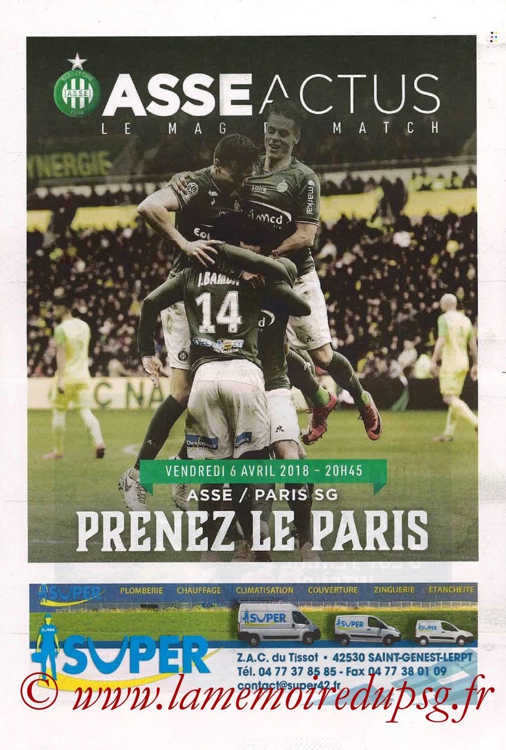 2018-04-06  Saint Etienne-PSG (32ème L1, ASSE Actus)