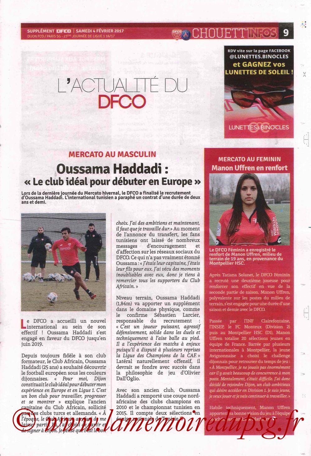 2017-02-04  Dijon-PSG (23ème L1, Chouett' Info N°12) - Page 9