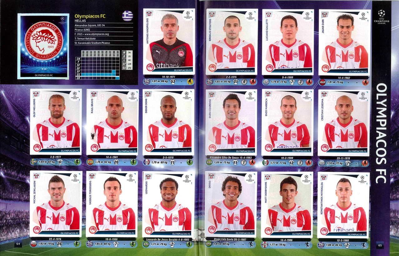 2009-10 - Panini Champions League - Pages 64 et 65 - Olympiakos FC