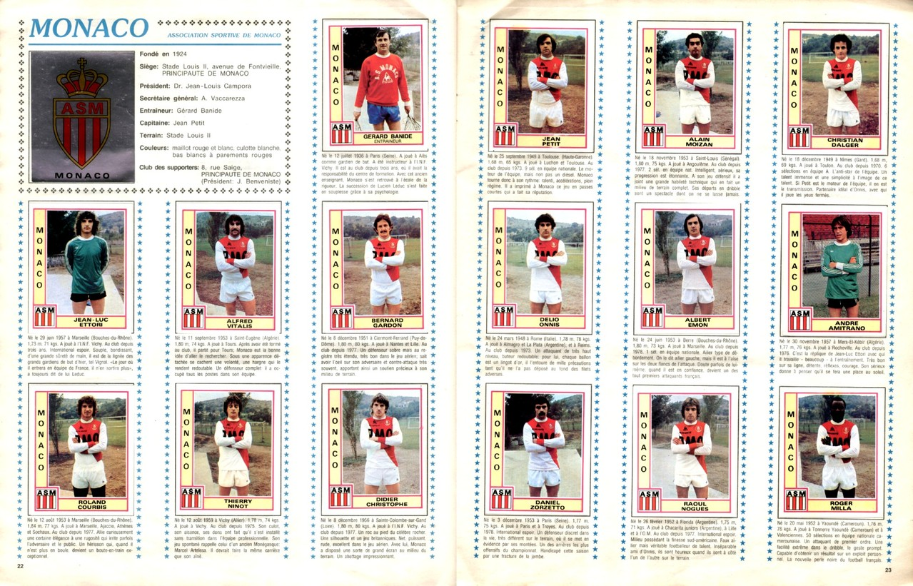 1979-80 - Panini 1980 - Pages 22 et 23 - AS Monaco