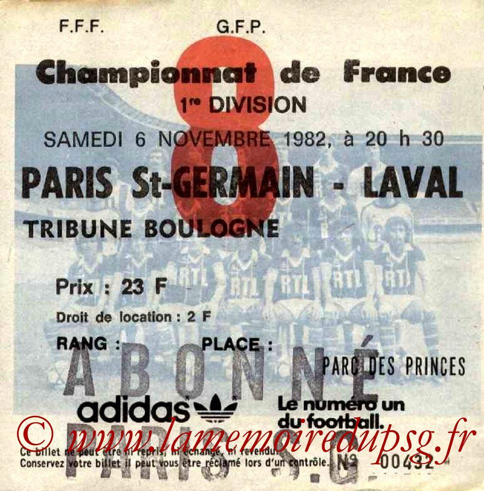 1982-11-06  PSG-Laval (14ème D1, Ticket N°8)