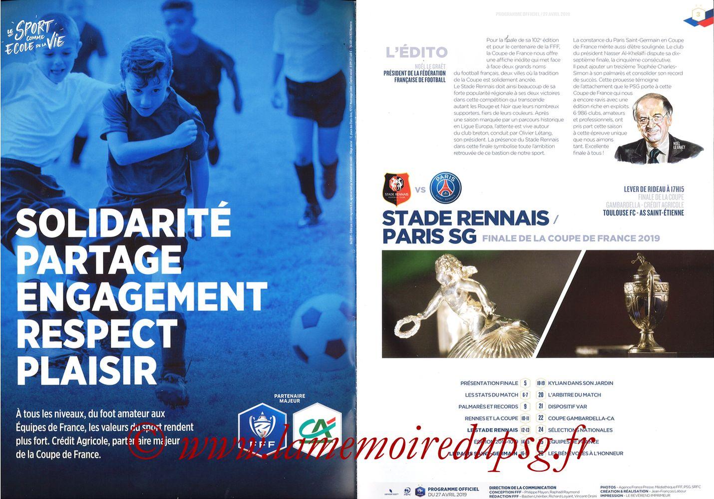 2019-04-27  Rennes-PSG (Finale CF au Stade de France, Programme officiel FFF) - Pages 02 et 03