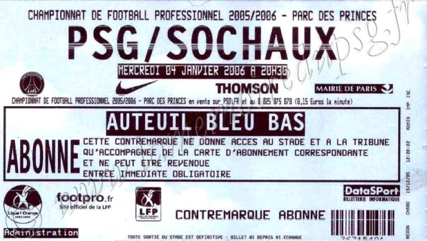 2006-01-04  PSG-Sochaux (20ème L1)