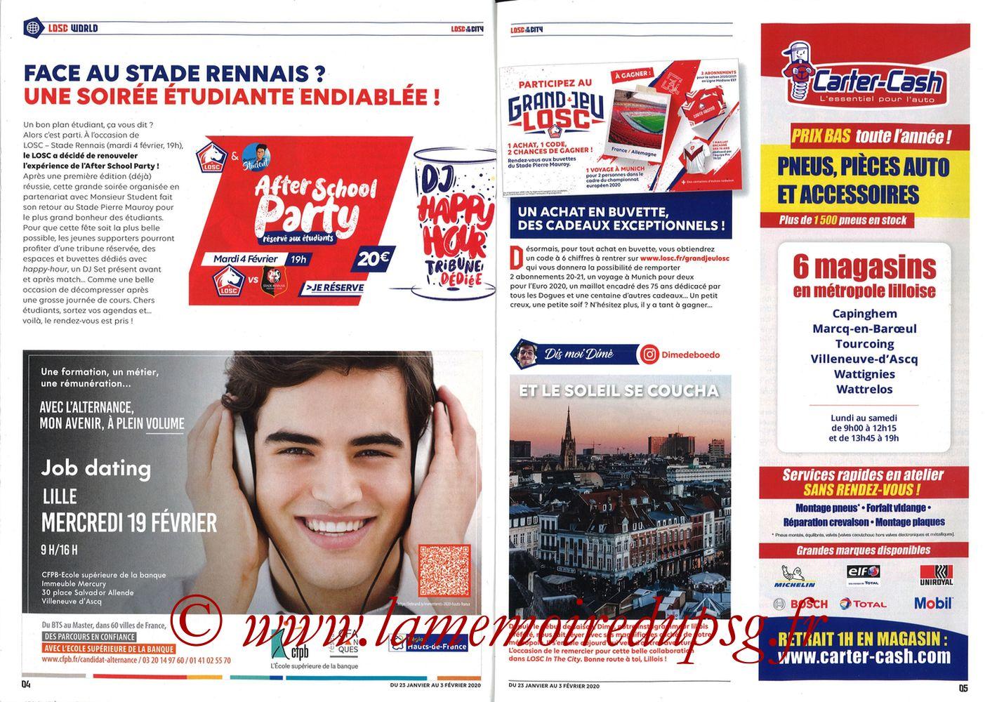 2020-01-25  Lille-PSG (21ème L1, Losc in the City N°41) - Pages 04 et 05
