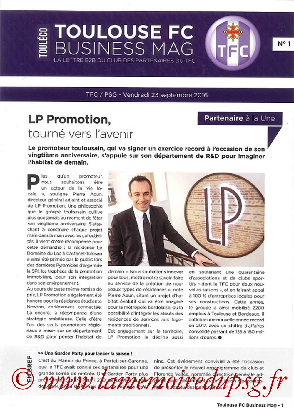 2016-09-23  Toulouse-PSG (7ème L1, Business Mag N°1)