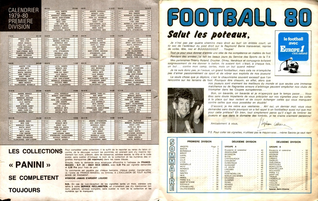 1979-80 - Panini 1980 - Pages 00 et 01 - Calendrier + Sommaire