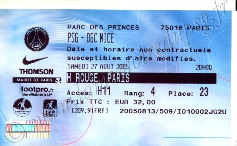 2005-08-27  PSG-Nice (5ème L1, Billetel)
