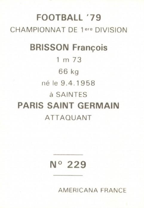 N° 229 - François BRISSON (Verso)
