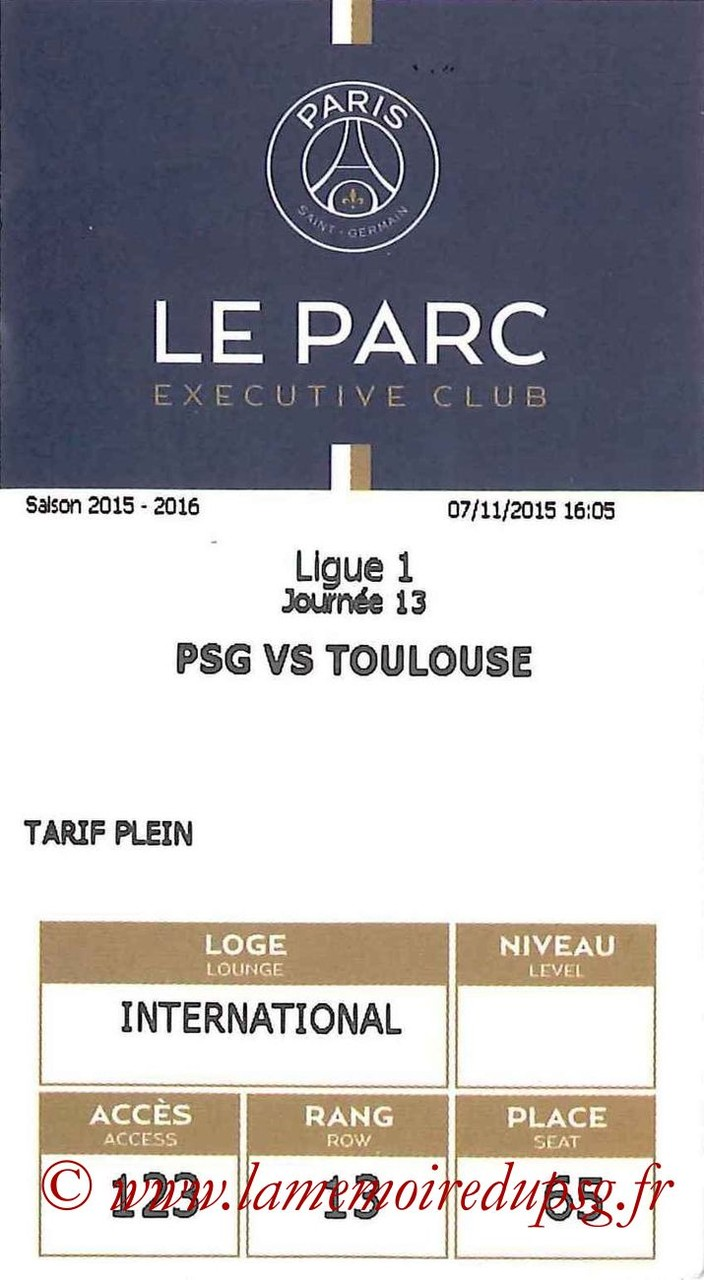 2015-11-07  PSG-Toulouse (13ème L1, E-ticket Executive Club)