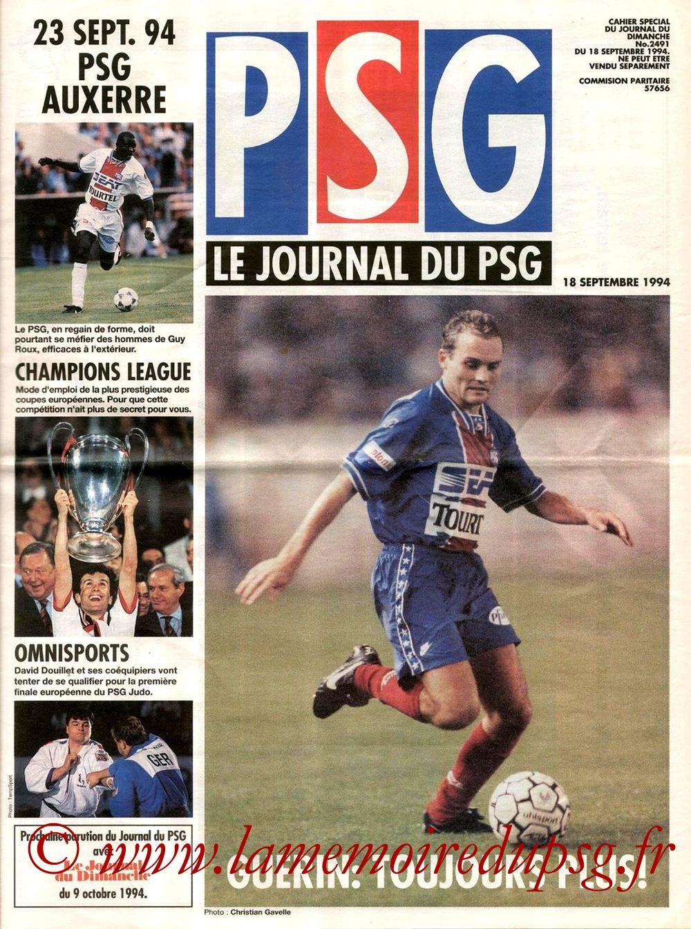 1994-09-23  PSG-Auxerre (10ème D1, Le journal du PSG N°4)