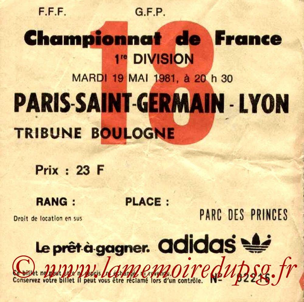 1981-05-19  PSG-Lyon (36ème D1, Ticket N°18)