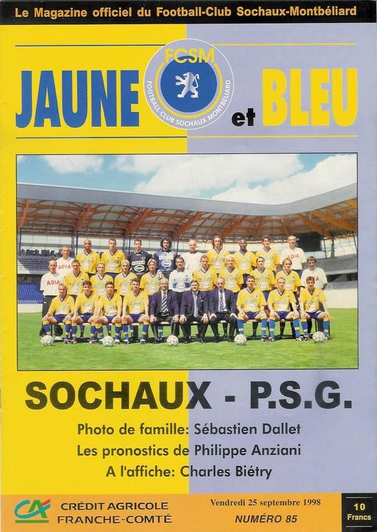1998-09-25  Sochaux-PSG (7ème D1, Jaune et Bleu N°85)