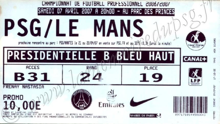 2007-04-07  PSG-Le Mans (31ème L1, bis)