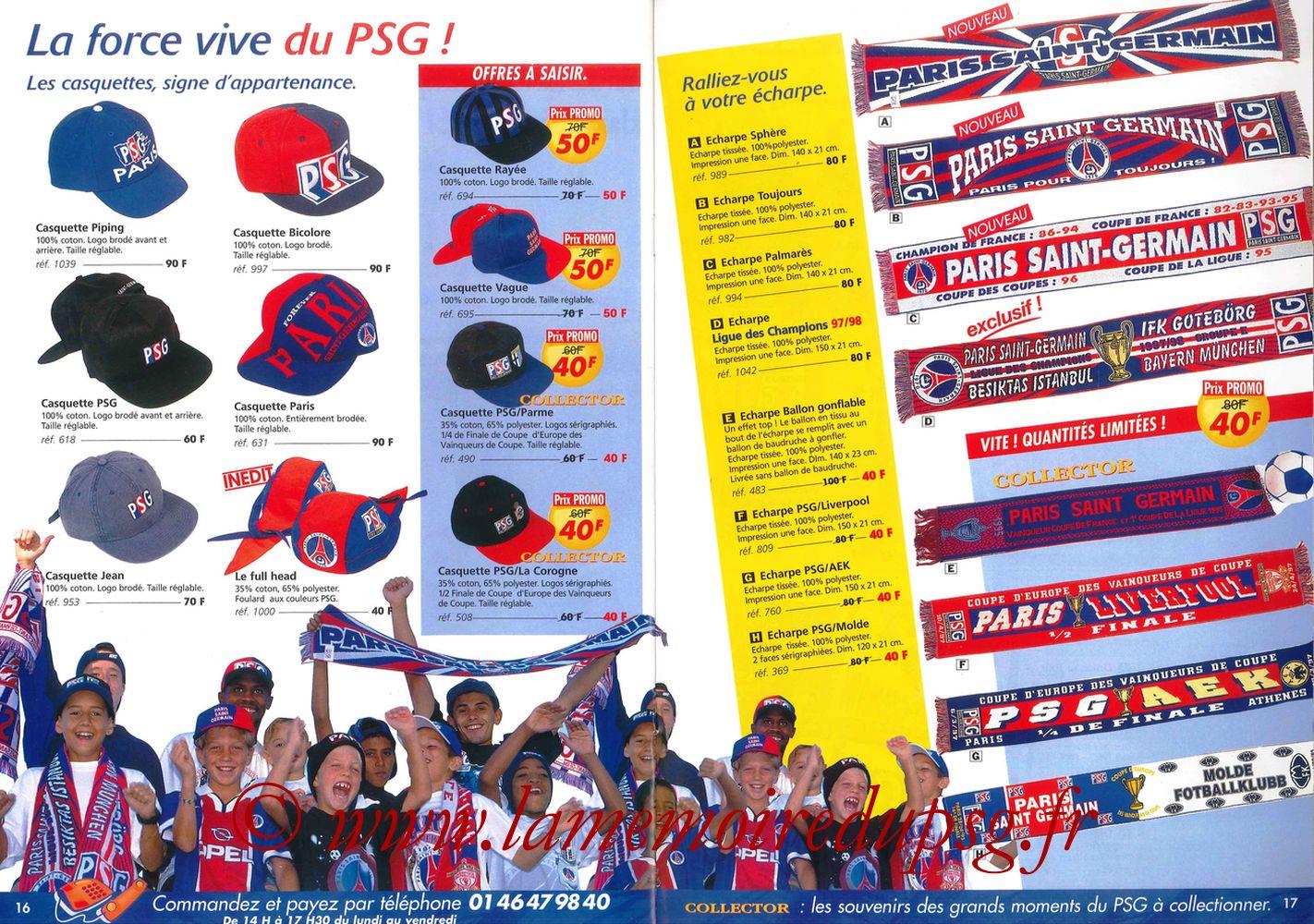 Catalogue PSG - 1997-98 - Pages 16 et 17