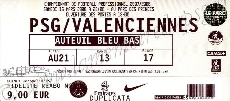 2008-03-15  PSG-Valenciennes (29ème L1)
