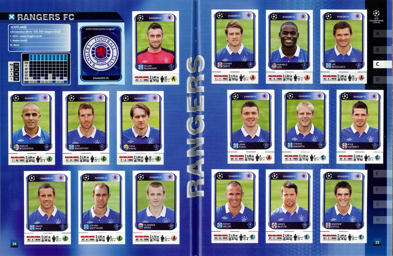 2010-11 - Panini Champions League - Pages 24 et 25 - Rangers FC