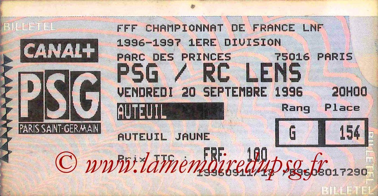 1996-09-20  PSG-Lens (8ème D1, Billetel)