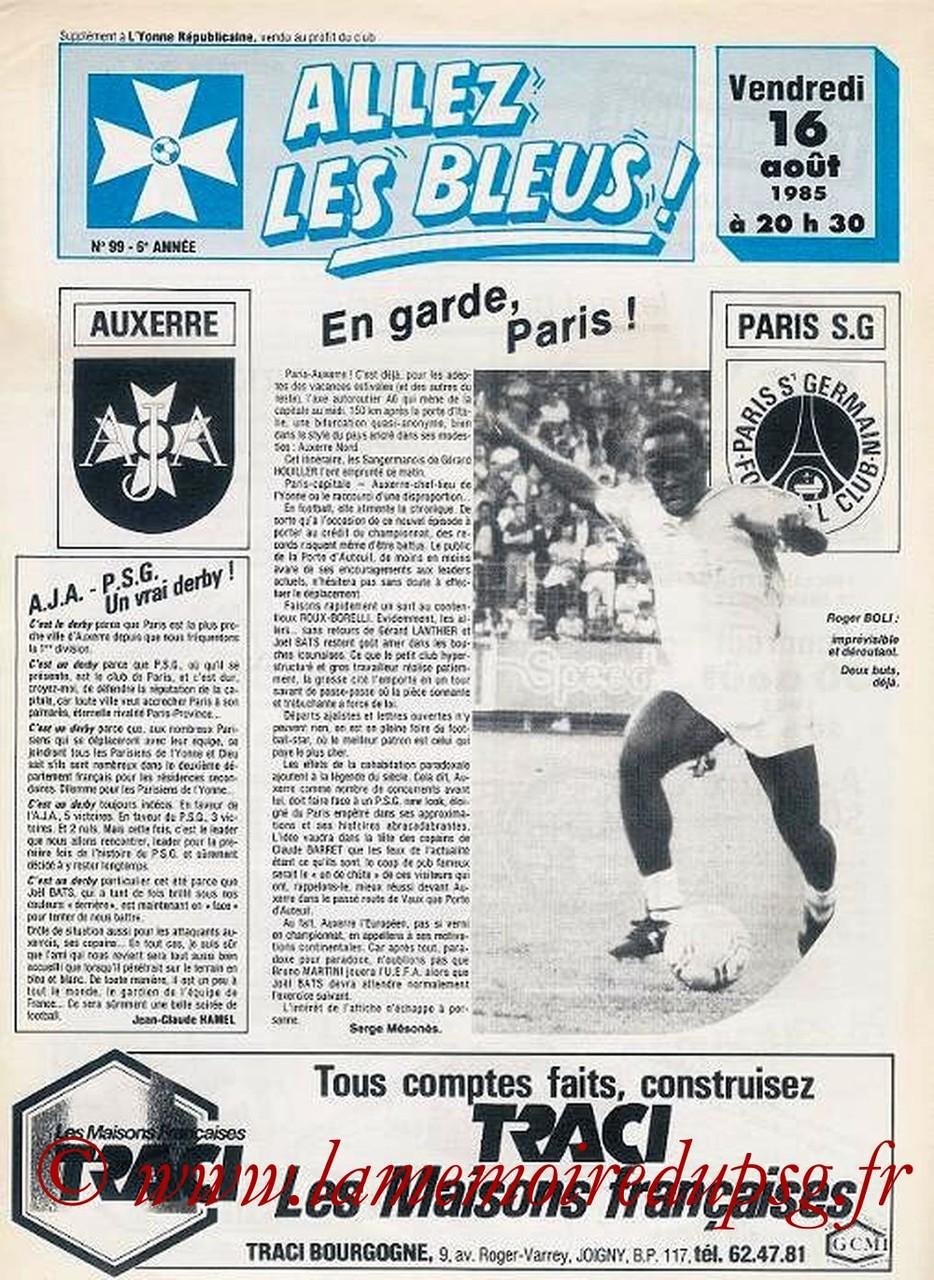 1985-08-16  Auxerre-PSG (7ème D1, Allez les Bleus N°99)