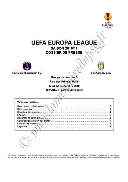 2010-09-30 - PSG-Karpaty Lviv (2ème poule C3, Dossier de presse)