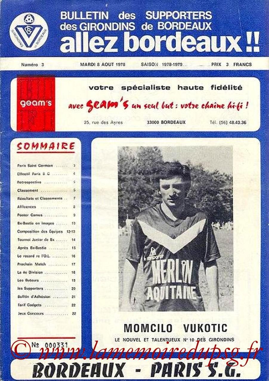1978-08-08  Bordeaux-PSG (5ème D1, Allez Bordeaux N°3)
