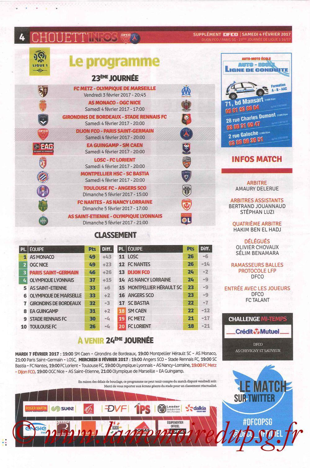 2017-02-04  Dijon-PSG (23ème L1, Chouett' Info N°12) - Page 4