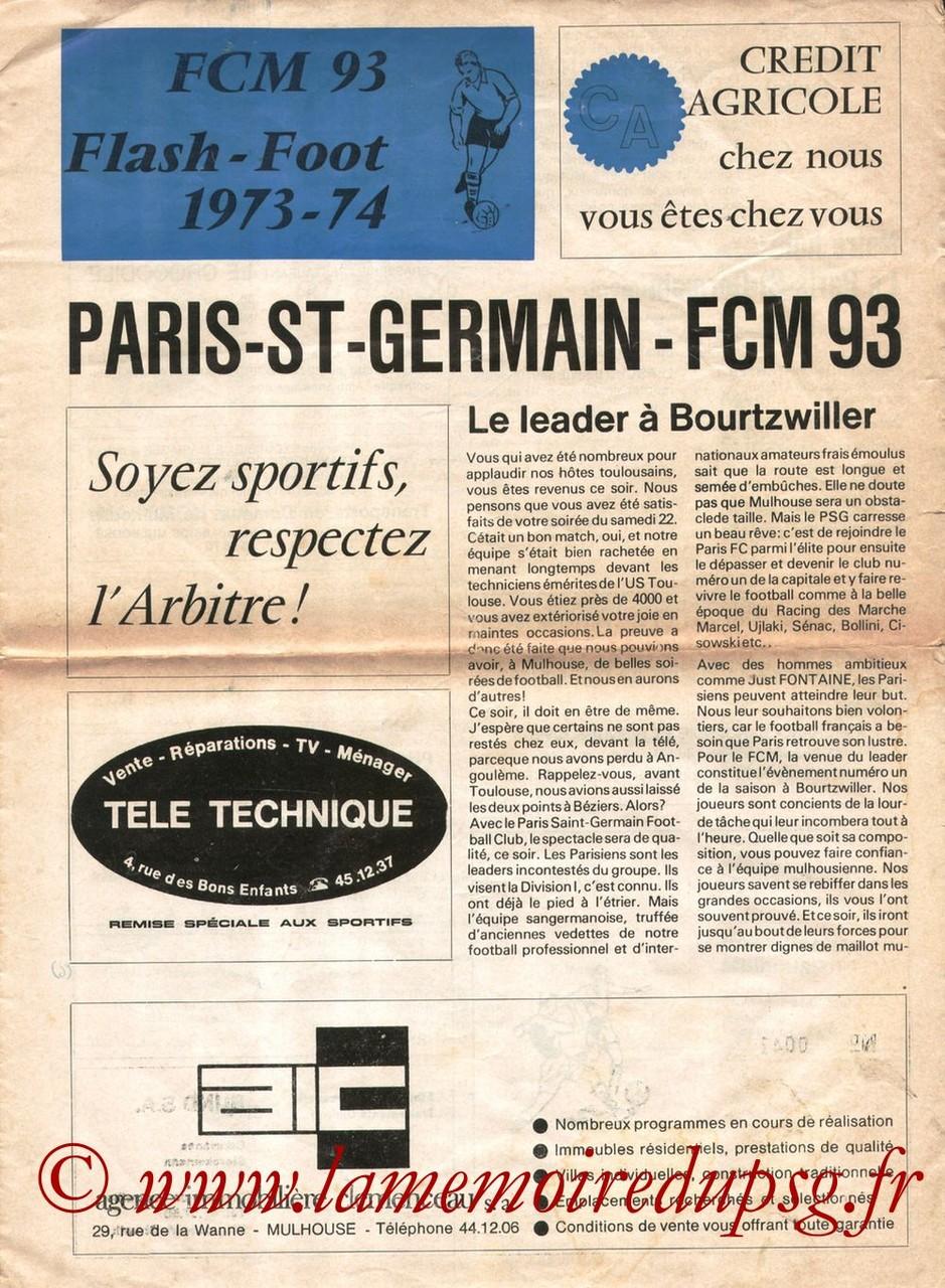 1973-10-05  Mulhouse-PSG (8ème D2, Programme officiel)