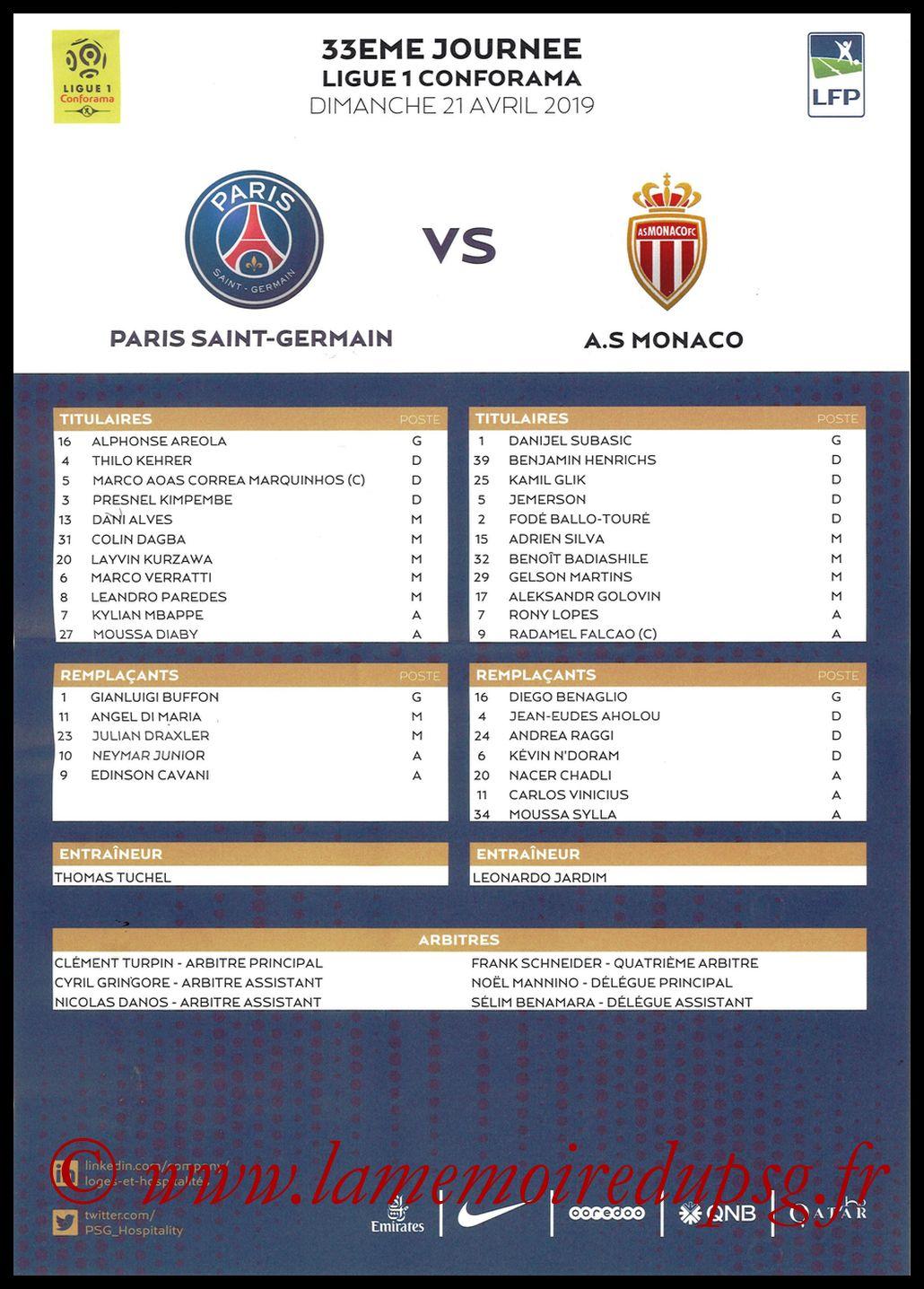 2019-04-21  PSG-Monaco (33ème L1, Feuille de match)