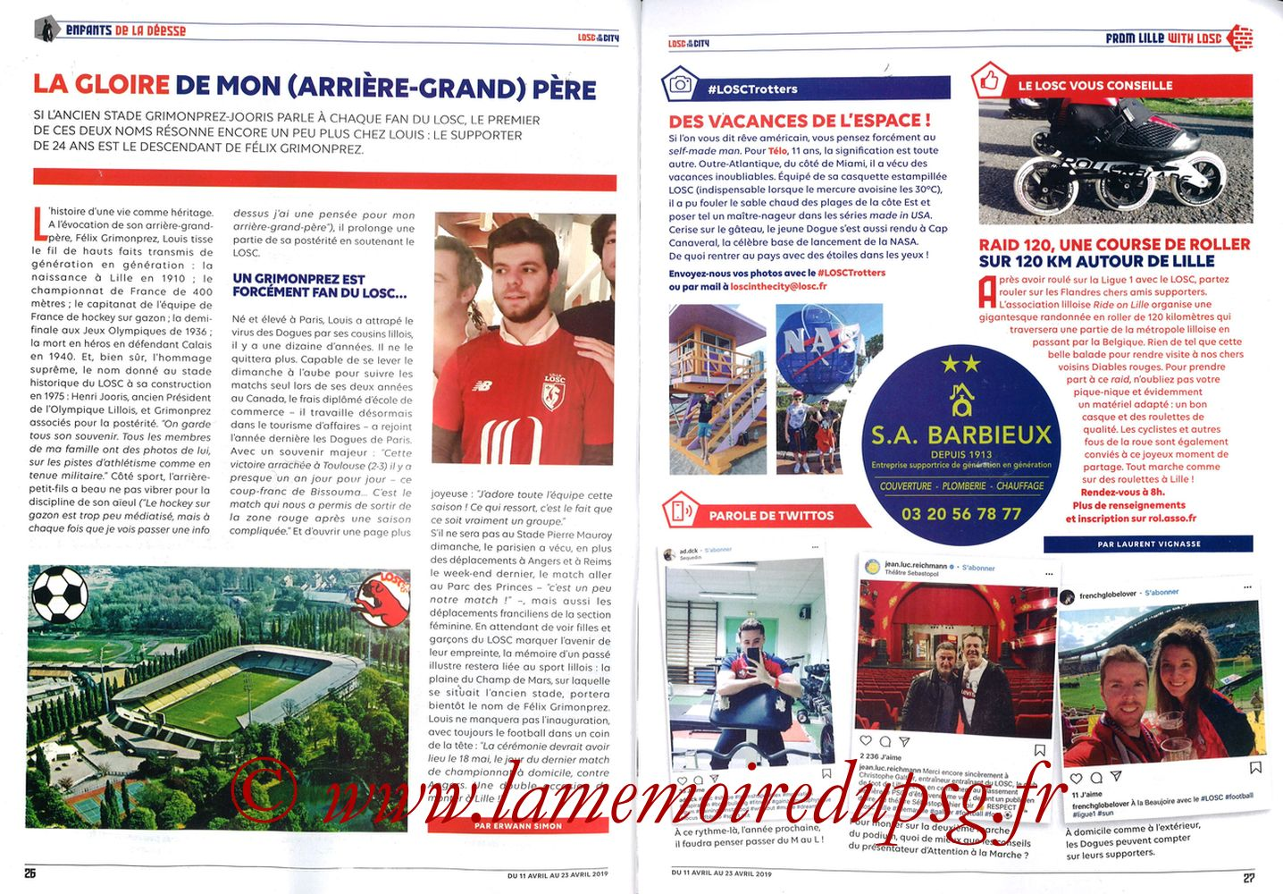 2019-04-14  Lille-PSG (32ème L1, LOSC In the City N° 28) - Pages 26 et 27
