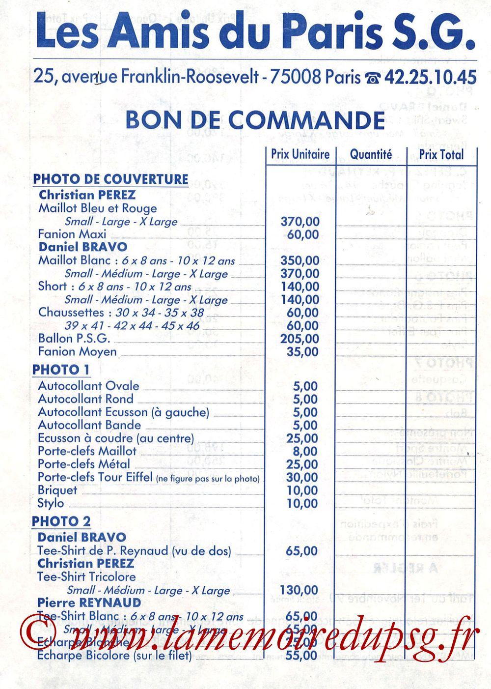 Catalogue PSG - 1990-91 - Bon de Commande Recto