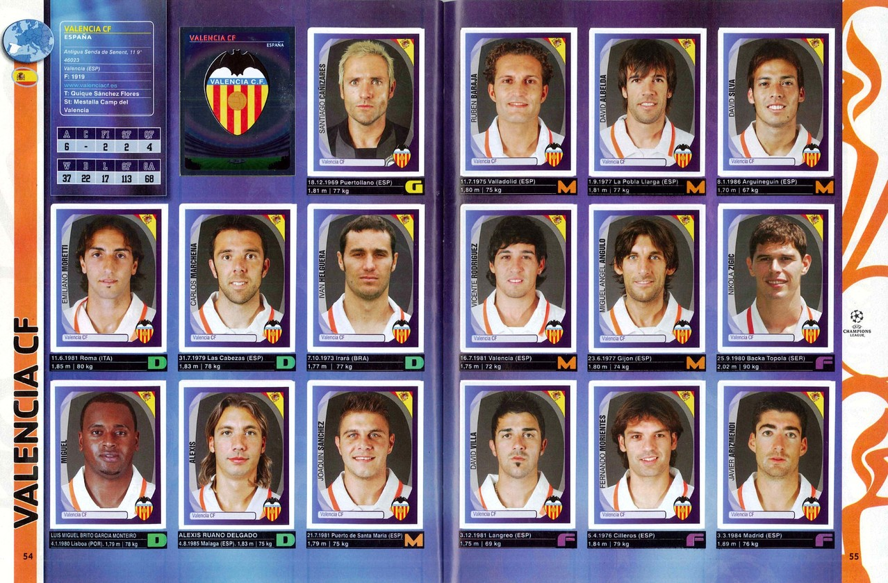 2007-08 - Panini Champions League - Pages 54 et 55 - FC Valence
