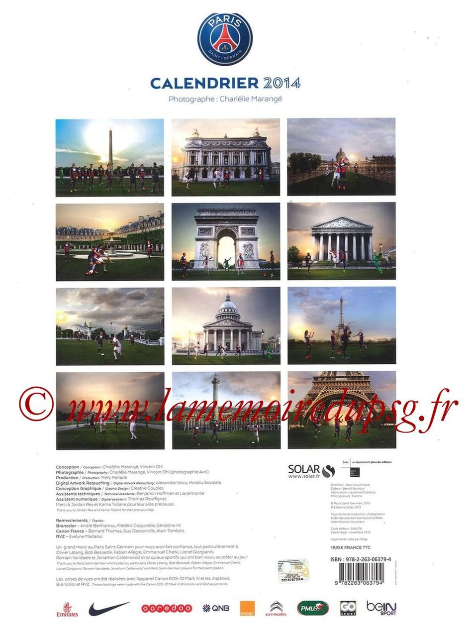 Calendrier PSG 2014 - Dos