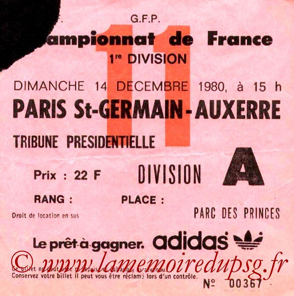 1980-12-14  PSG-Auxerre (22ème D1, Ticket N°11)