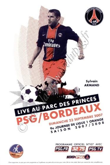 2007-09-23  PSG-Bordeaux (9ème L1, Officiel PSG N°107)