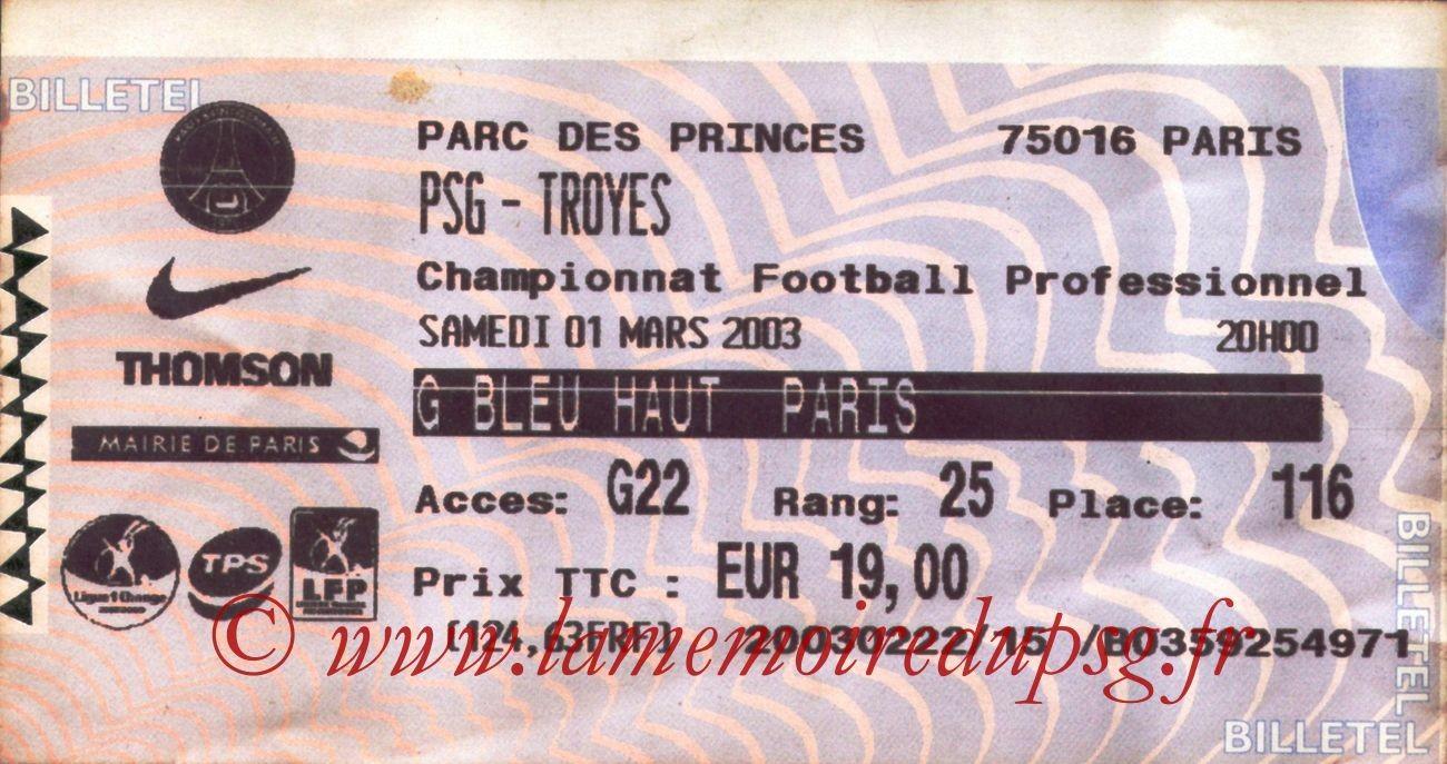 2003-03-01  PSG-Troyes (29ème L1, Billetel)