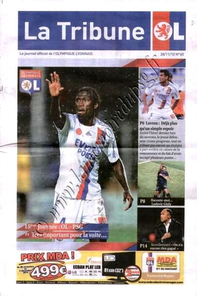 2010-11-28  Lyon-PSG (15ème L1, La tribune OL N°60)