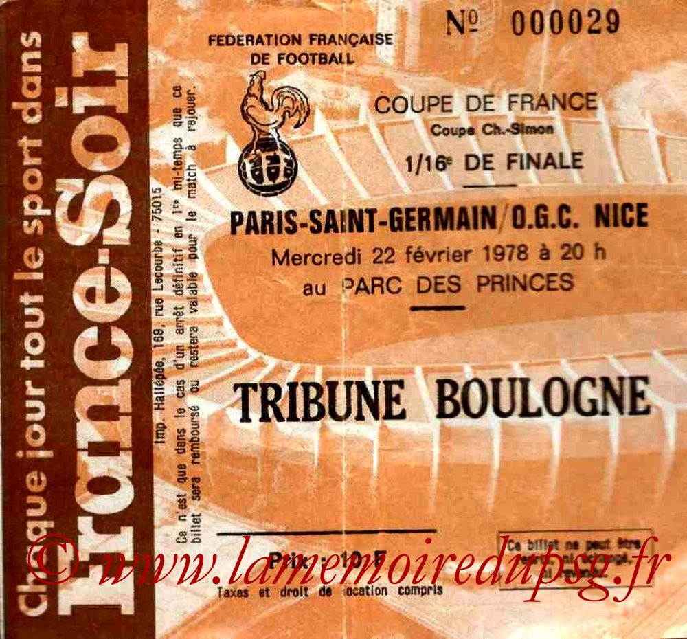 Ticket  PSG-Nice  1977-78