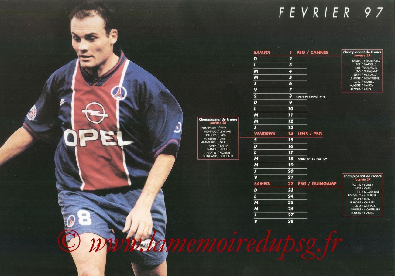 Calendrier PSG 1996-97 - Page 07 - Vincent GUERIN