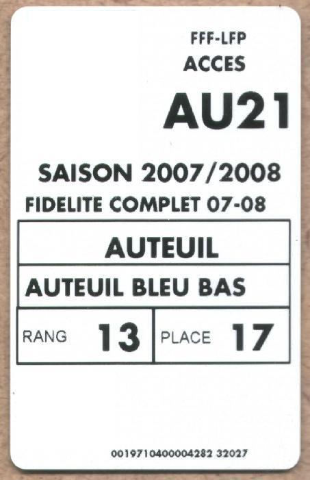 Carte d'abonné PSG 2007-08