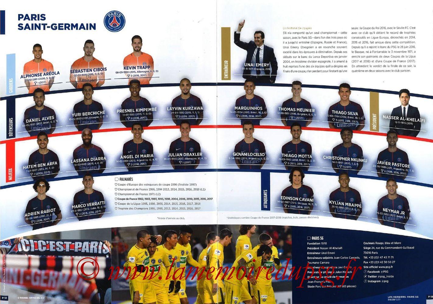 2018-05-08  Les Herbiers-PSG (Finale CF à Saint-Denis, Programme officiel FFF) - Pages 12 et 13